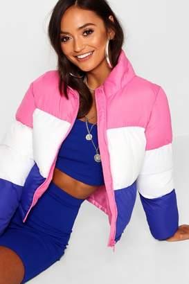 boohoo Petite Colour Block Padded Coat