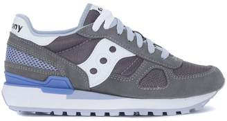Saucony Shadow Grey, Lilac And White Suede And Mesh Sneaker