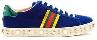 Gucci New Ace Faux Pearl And Crystal Velvet Trainers - Womens - Dark Blue