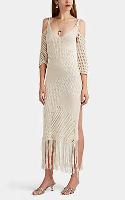 Altuzarra Women's Octavia Fringed Macramé Cold-Shoulder Dress - Ivory
