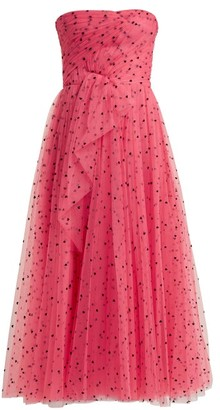 Carolina Herrera Flocked Waterfall Panel Strapless Tulle Gown - Womens - Pink Multi