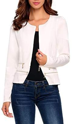 ThinIce Women's Casual Collarless Cardigan Office Blazer Zipper Work Jacket (XL, )
