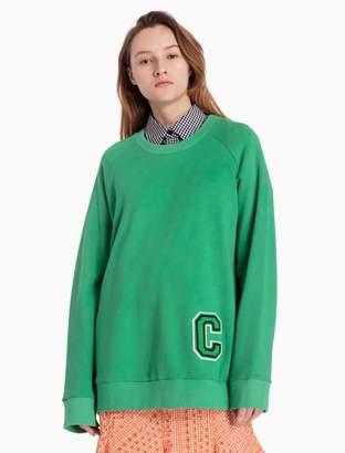 Calvin Klein cotton knit c-badge long raglan sleeve top