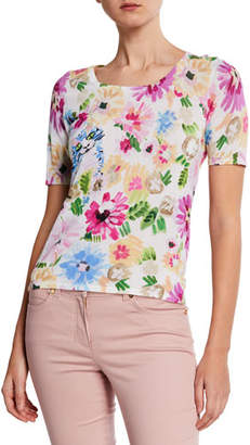 Escada Garden Floral-Print Short-Sleeve Shirt