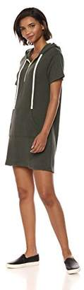 Monrow Women's Hoody Dress W/Star Print Hood