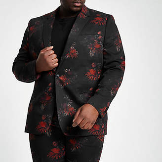 River Island Big and Tall black floral suit jacket