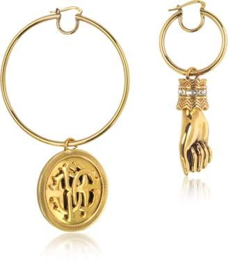 Roberto Cavalli Antique Goldtone Metal Crystal Hand and Large Logo Coin Drop Earrings