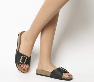 Office Sleek Big Buckle Footbed Sandals Black
