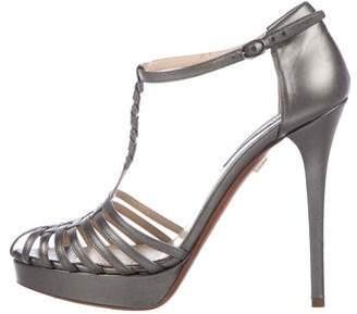 Ralph Lauren Purple Label Leather Ankle Straps Sandals