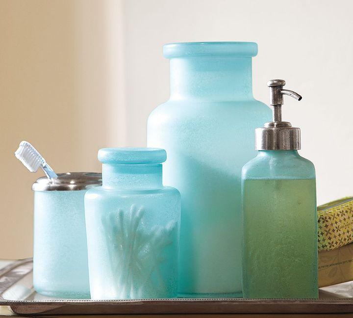 Blue Beach Glass Bath Accessories