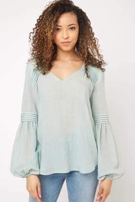 Glam Billow Sleeve Garment Dye Blouse