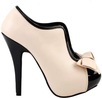 story. Show Vintage Two Tone Bow Platform Stiletto High Heel Ankle Boots,LF30427BU36,5US