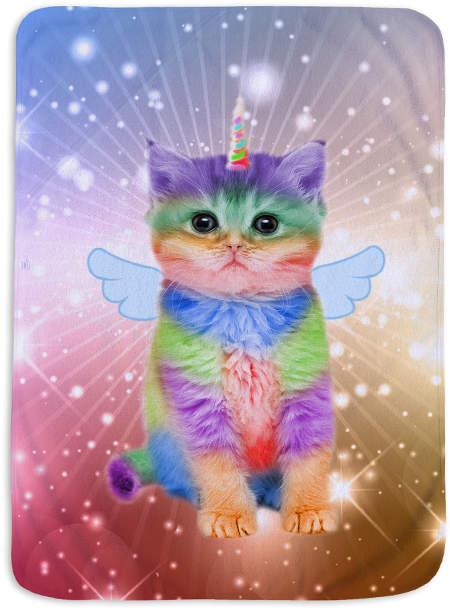 45'' x 62'' Rainbow Kittycorn & Stars Fleece Blanket