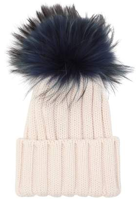 8b25290bd17 ... Wool Knit Beanie Hat W  Fur Pompom