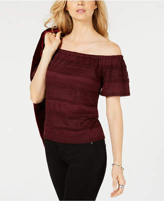 INC International Concepts I.N.C. Lace Off-The-Shoulder Top, Created for Macy's