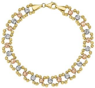 """14K Gold 7-1/2"""" Tri-Color Beaded Link Bracelet,8.6g"""