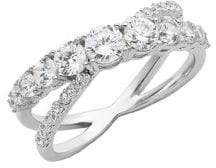 Lord & Taylor Sterling Silver and Cubic Zirconia Interlocking Ring