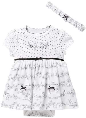 Little Me Bunny Bodysuit Dress & Headband Set