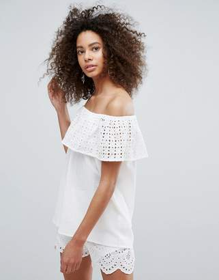 Traffic People Bardot Frill Overlay Top