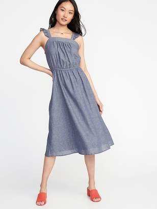Old Navy Waist-Defined Ruffle-Trim Midi Dress for Women
