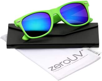 40c37fe0c0 Zerouv Retro Large Square Colored Mirror Lens Horn Rimmed Sunglasses 55mm  ( -Blue Mirror