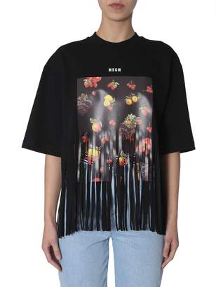 MSGM Fruit Printed T-shirt With Fringes