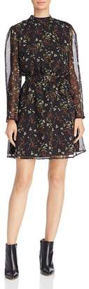 BB Dakota Jasmine Sheer-Sleeve Floral Print Dress