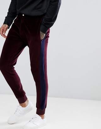 Asos Design Slim Joggers In Burgundy Velour Cord With Side Stripe