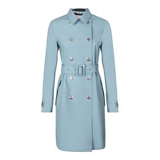 Women's Light Blue Refined Perforated Trench Coat