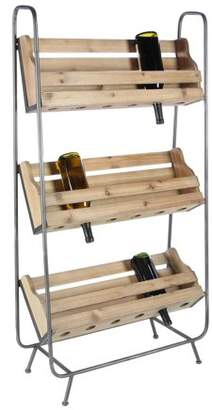 DecMode Decmode Industrial 47 X 25 Inch 3-Tiered Pallet-Style Fir Wood and Metal Wine Rack