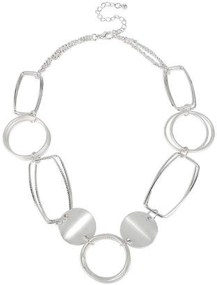 Bold Elements Silver-Tone Disk and Link Necklace