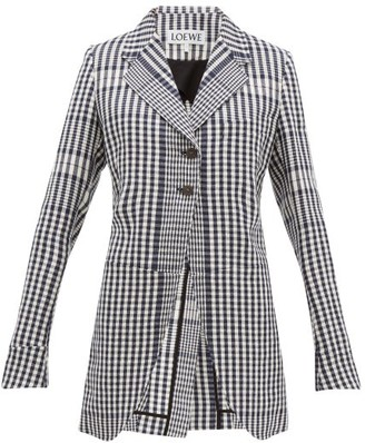 Loewe Checked Single Breasted Canvas Jacket - Womens - Black White