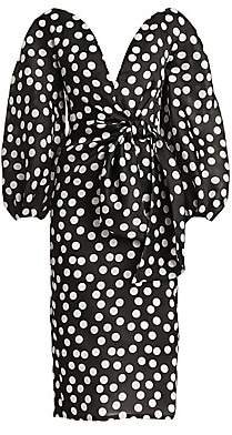 Carolina Herrera Women's Polka Dot Puff-Sleeve Tie-Waist Sheath Dress