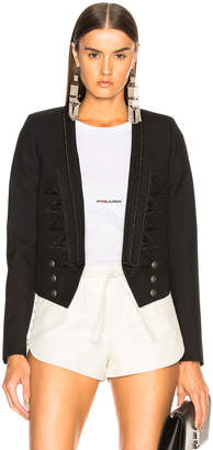 Saint Laurent Gabardine Cropped Military Jacket