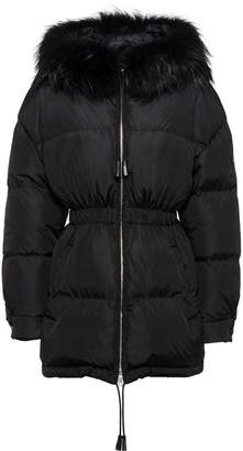 Prada Feather nylon puffer jacket with fur