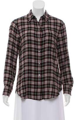 Theory Plaid Button Up Top