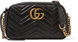 Gucci - Gg Marmont Camera Small Quilted Leather Shoulder Bag - Black $1,200 thestylecure.com