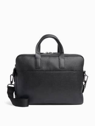 Calvin Klein Pebble Leather Logo Laptop Bag