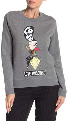 Love Moschino Front Graphic Print Pullover