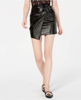 J.o.a. Wrap-Front Patent Mini Skirt