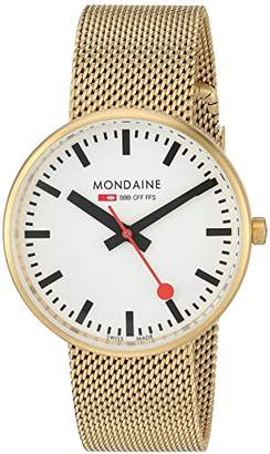 Mondaine ' SBB' Quartz Stainless Steel and Gold Plated Casual Watch(Model: A763.30362.21SBM)