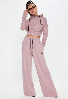 Missguided Barbie x Tall Pink Wide Leg Drawstring Joggers