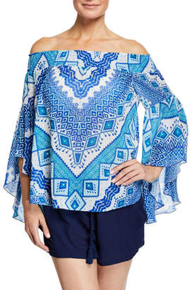 6acba16a093 Ramy Brook Elsie Printed Off-Shoulder Flutter-Sleeve Top