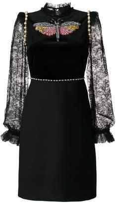 Gucci embellished lace-trimmed dress