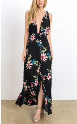 Hommage Black Tropical Floral Maxi