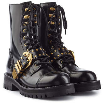 Versace Leather Ankle Boots with Studs