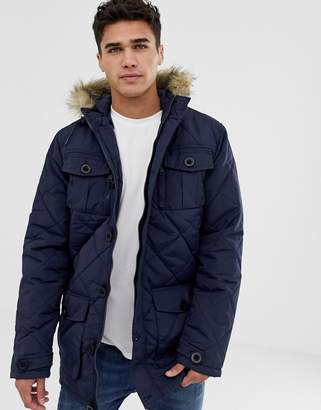 Brave Soul Quilted Parka Jacket with Faux Fur Trim Hood