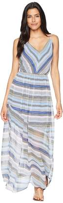 CeCe Jordan - Sleeveless V-Neck Striped Maxi Women's Dress