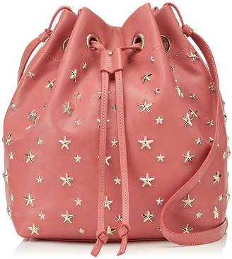 27aac738ed9a Jimmy Choo JUNO Rosewood and Silver Mix Metallic Leather Drawstring Bag  with Multimetal Star Detailing