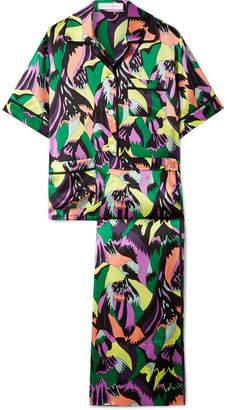 Olivia von Halle - Daria Printed Silk-satin Pajama Set - Midnight blue